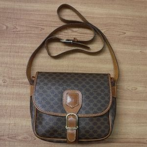 Authentic Celine Brown PVC Crossbody Small Bag